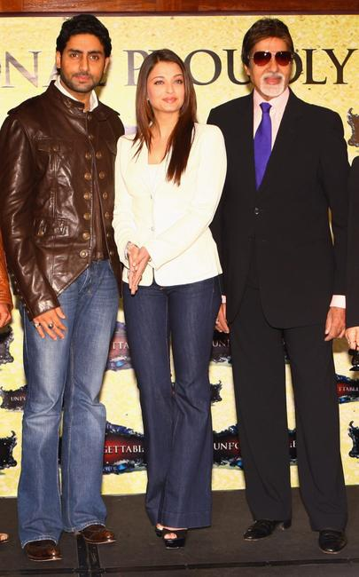 Abhishek Bachchan, Aishwarya Rai Bachchan and Amitabh Bachchan at the photocall of