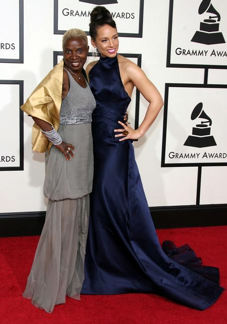 Angelique Kidjo and Alicia Keys at the 50th Annual Grammy Awards.