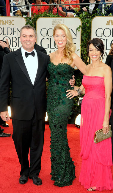 Director Chris Miller, Laura Gorenstein Miller and Latifa Ouaou at the 69th Annual Golden Globe Awards in California.