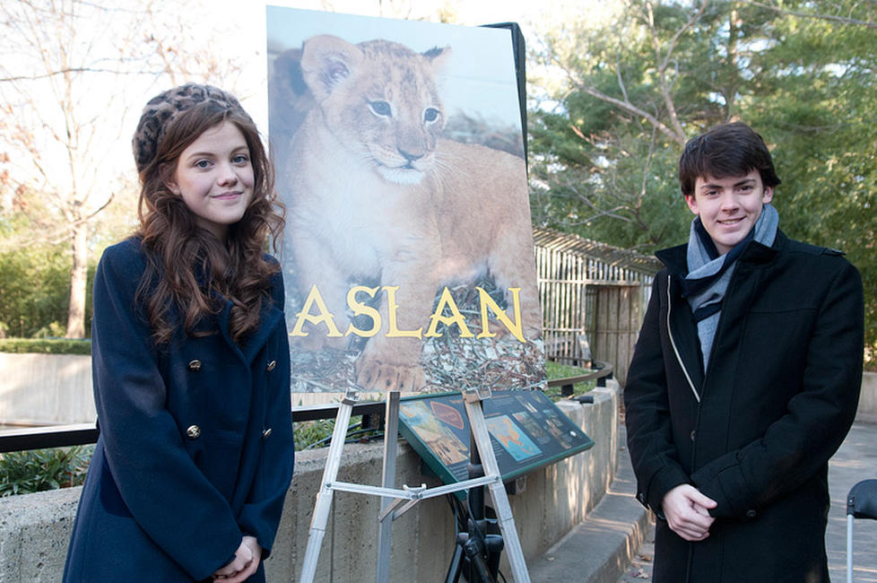 Georgie Henley and Skandar Keynes at the Smithsonian's National Zoo Lion Cub naming ceremony in Washington, DC.