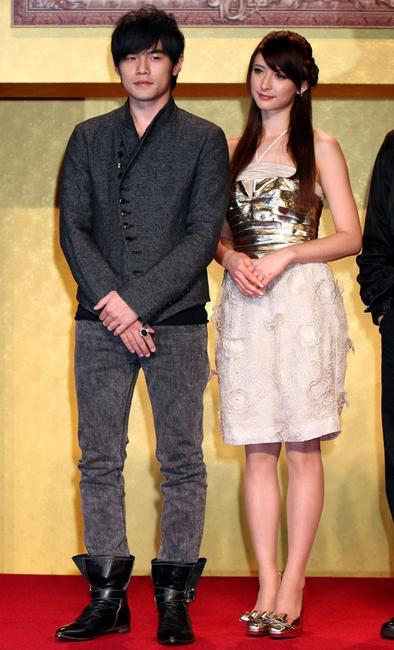 Jay Chou and Leah Dizon at the press conference of
