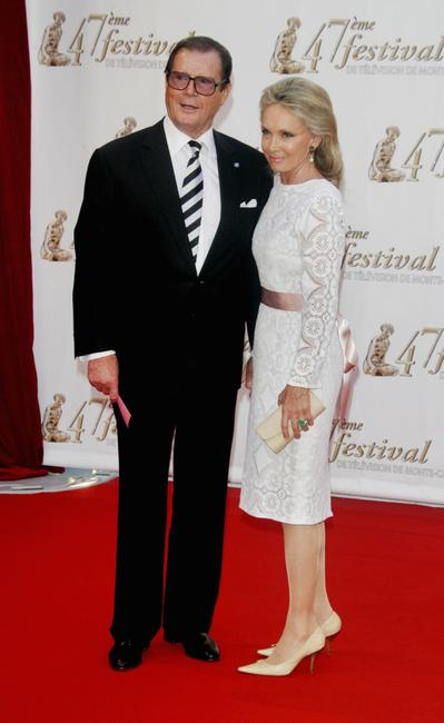 Roger Moore and wife Christina Tholstrup at the opening night of the 2007 Monte Carlo Television Festival.