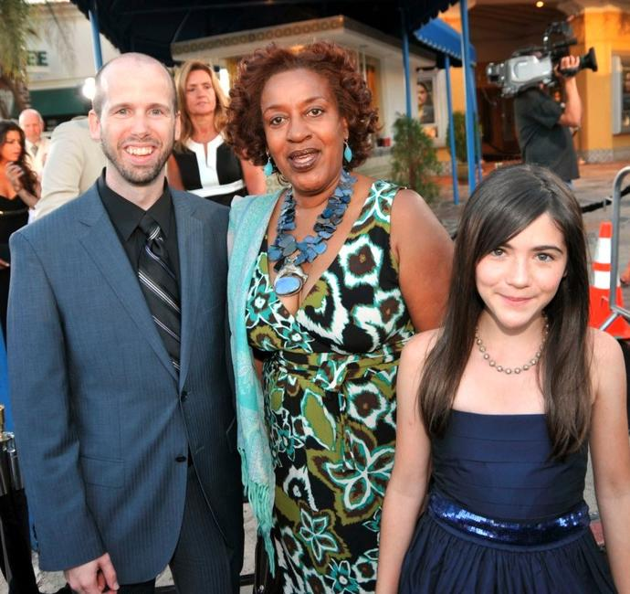 David Leslie Johnson, CCH Pounder and Isabelle Fuhrman at the premiere of