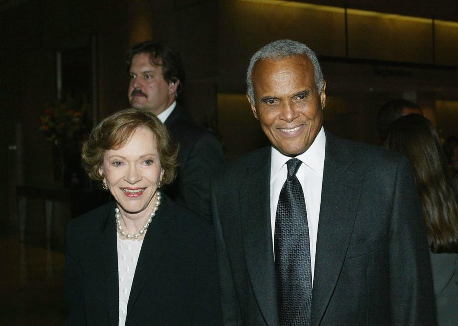 Harry Belafonte and Rosalynn Carter at the Death Penalty Focus Awards.