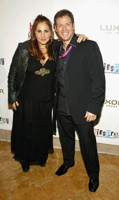 Kathy Najimy and Kevin Spirtas at the party after Spirtas performed in the opening night show of
