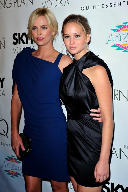 Charlize Theron and Jennifer Lawrence at the screening of