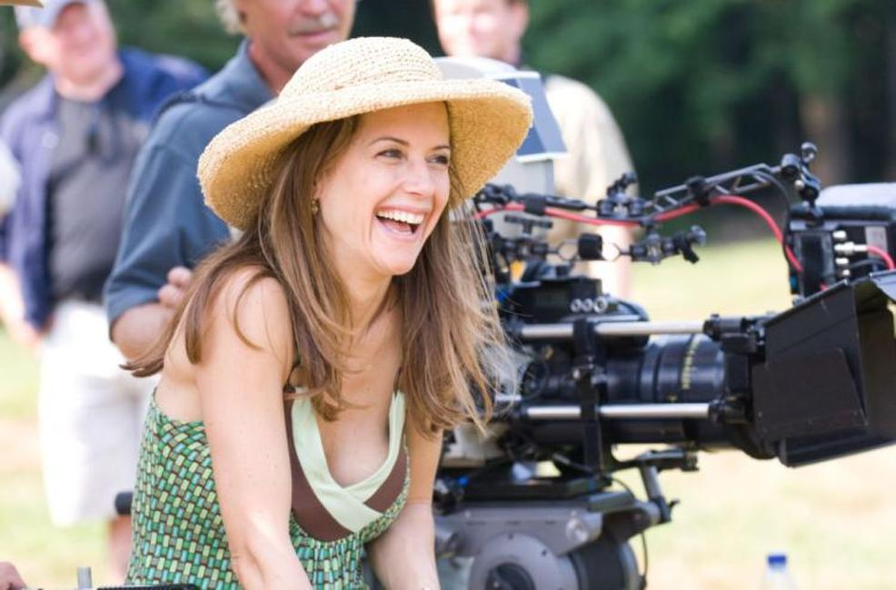 Kelly Preston on the set of