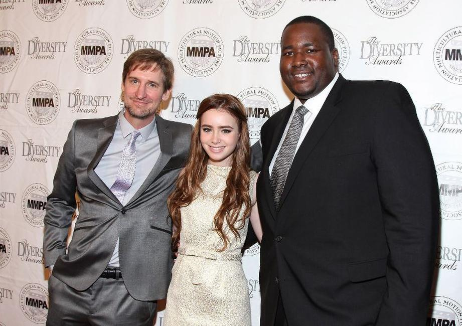 Ray McKinnon, Lily Collins and Aaron Quinn at the 17th Annual Multicultural Motion Picture Association student filmmaker Oscar luncheon.