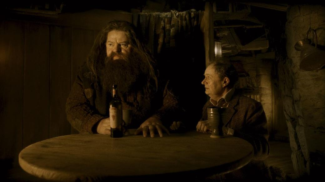 Robbie Coltrane as Rubeus Hagrid and Jim Broadbent as Professor Horace Slughorn in