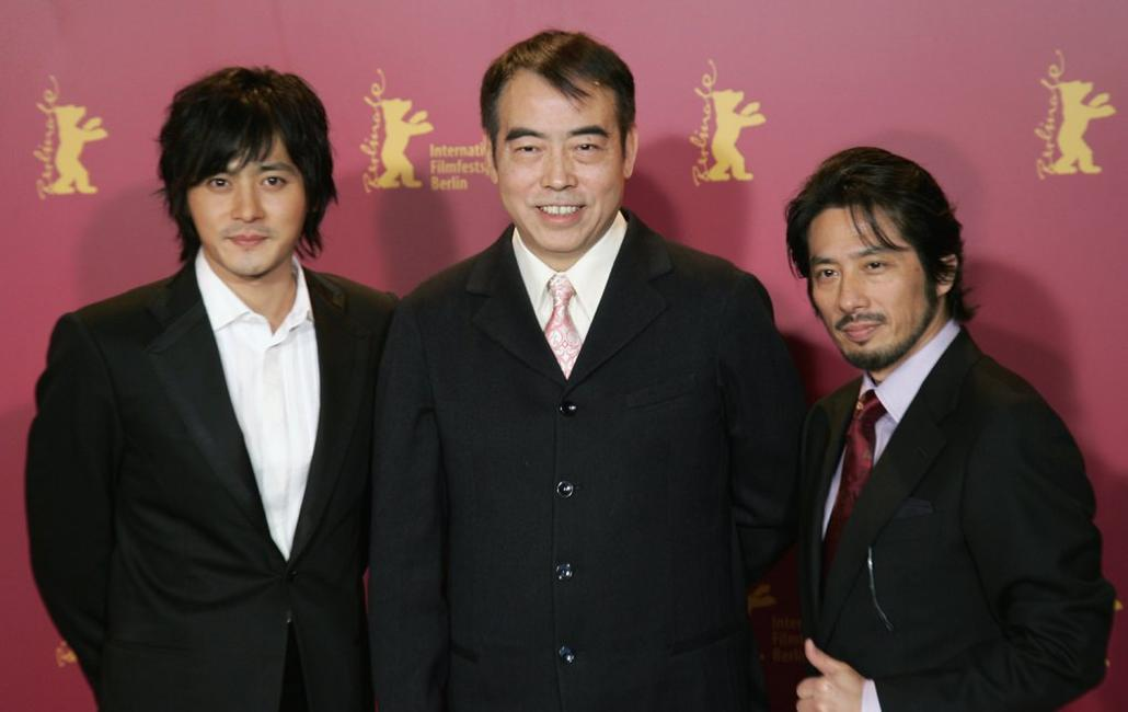 Chen Kaige, Jang Dog-Gun and Hiroyuki Sanada at the photocall for the film