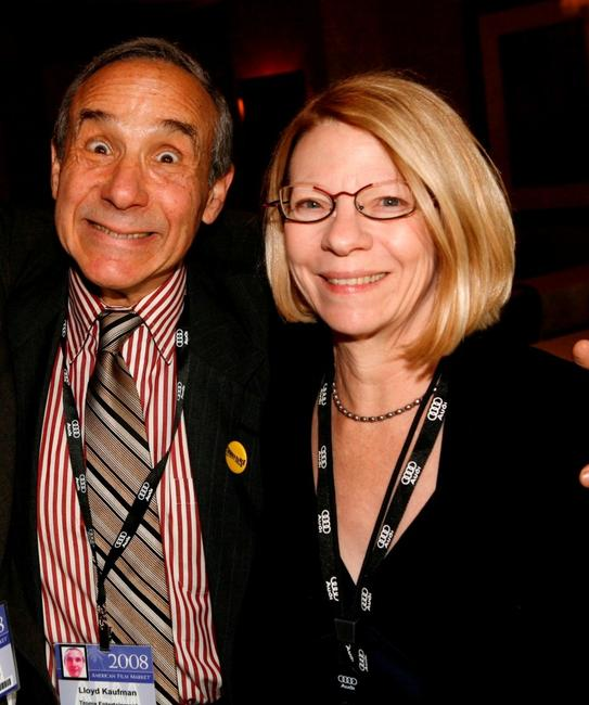 Lloyd Kaufman and Jean Prewitt at the 2008 AFM Troma Press Conference.