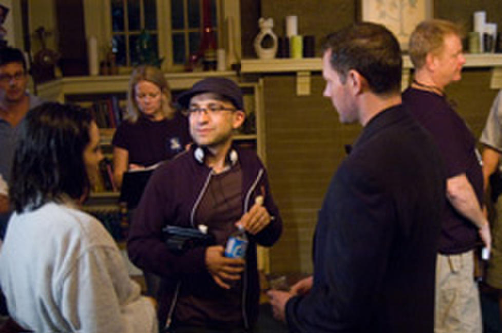 Director Eric Valette and Edward Burns on the set of