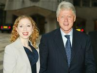 Chelsea Clinton and Bill Clinton at the launch party of