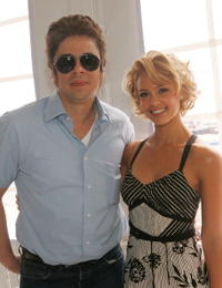 Benicio Del Toro and actress Jessica Alba at the Miramax distributor lunch at the Majestic Beach during the 58th International Cannes Film Festival.