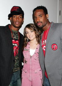 Marlon Wayans, pop singer JoJo and Shawn Wayans at the MTV's Total Request Live.