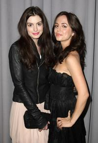 Eliza Dushku and Anne Hathaway at the Marchesa Fall 2008 fashion show during Mercedes-Benz Fashion Week Fall 2008 at Chelsea Art Museum.
