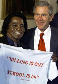 James Brown and US President George W. Bush at the White House honoring Black Music Month.