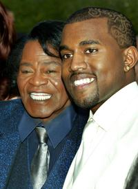 James Brown and Kanye West at the 47th Annual Grammy Awards.