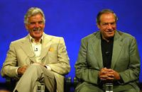 Dennis Farina and Dick Wolf at the press during the NBC Summer TCA Press Tour.
