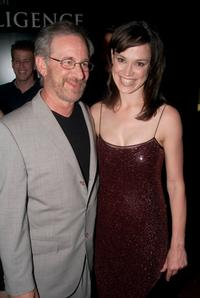 Steven Spielberg and Frances O'Connor at the premiere of