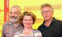 Director Mike Leigh, Imelda Staunton and Phil Davis at the photocall of