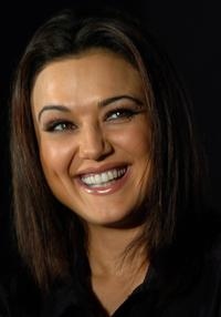 Preity Zinta at the launch of a new anti-dandruff hair shampoo.