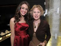 Emmy Rossum and Hollywood Reporter editor Elizabeth Guider at the Hollywood Reporter's Power 100 Private Reception honoring Mikimoto.