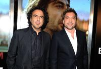 Alejandro Gonzalez Inarritu and Javier Bardem at the Los Angeles premiere of