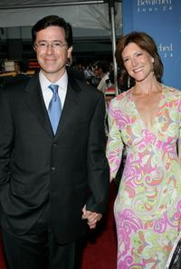 Stephen Colbert and his wife at the premiere of