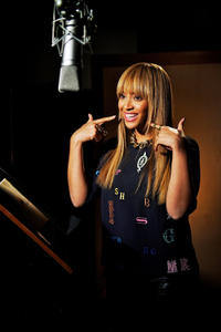 Beyonce Knowles on the set of