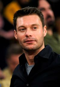 Ryan Seacrest at the Los Angeles Lakers Atlanta and Atlanta Hawks NBA basketball game.