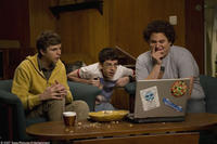 Evan (Michael Cera), Fogell (Christopher Mintz-Plasse) and Seth (Jonah Hill) in