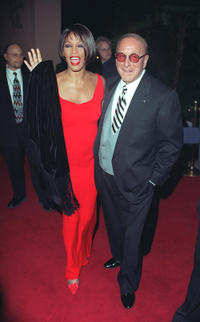 Whitney Houston and Clive Davis at the Pre-Grammy party in California.