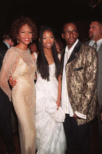 Whitney Houston, Brandy and Bobby Brown at the premiere of