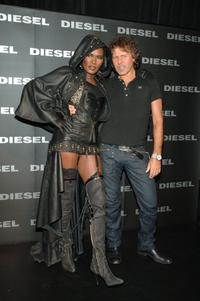 Grace Jones and Renzo Rosso at the Diesel Fall 2006 fashion show during the Olympus Fashion Week.