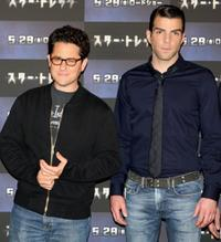 Director J.J. Abrams and Zachary Quinto at the press conference of