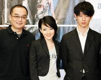 Director Yee Chih-yen, Mavis Fan and Ryo Kase at the press conference to promote