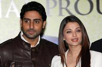Abhishek Bachchan and Aishwarya Rai Bachchan at the press launch of