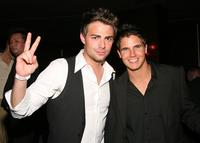 Jonathan Bennett and Robbie Amell at the grand opening of the Kim Vo Salon.