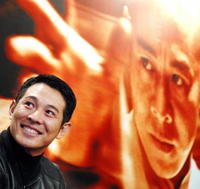 Jet Li at a forum with youths in Hong Kong to promote