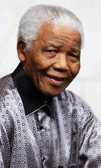 Nelson Mandela at the InterContinental Hotel during the photoshoot with celebrity photographer Terry O'Neil.