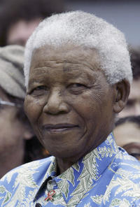 Nelson Mandela at the Robben Island Press Conference.