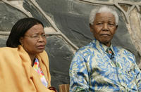 Nelson Mandela and Graca Machel at the Robben Island Press Conference.