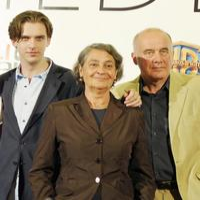 Dan Stevens, Monica Bleibtreu and Hanns Zischler at the shooting of