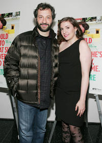 Producer Judd Apatow and Lena Dunham at the New York premiere of