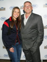 John Ratzenberger and his niece at the grand opening of the Fox Sports Grill.