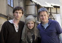 Eddie Redmayne, Kimberley Nixon and director Christopher Smith on the set of