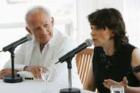 Juliette Binoche and Marin Karmitz at the press conference promoting the movie