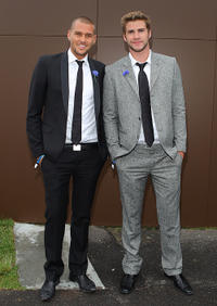 Rhys Uhlich and Liam Hemsworth at the AAMI Victoria Derby Day in Australia.
