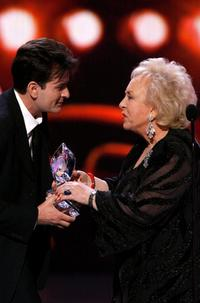 Charlie Sheen and Doris Roberts at the 33rd Annual Peoples Choice Awards held at the Shrine Auditorium.